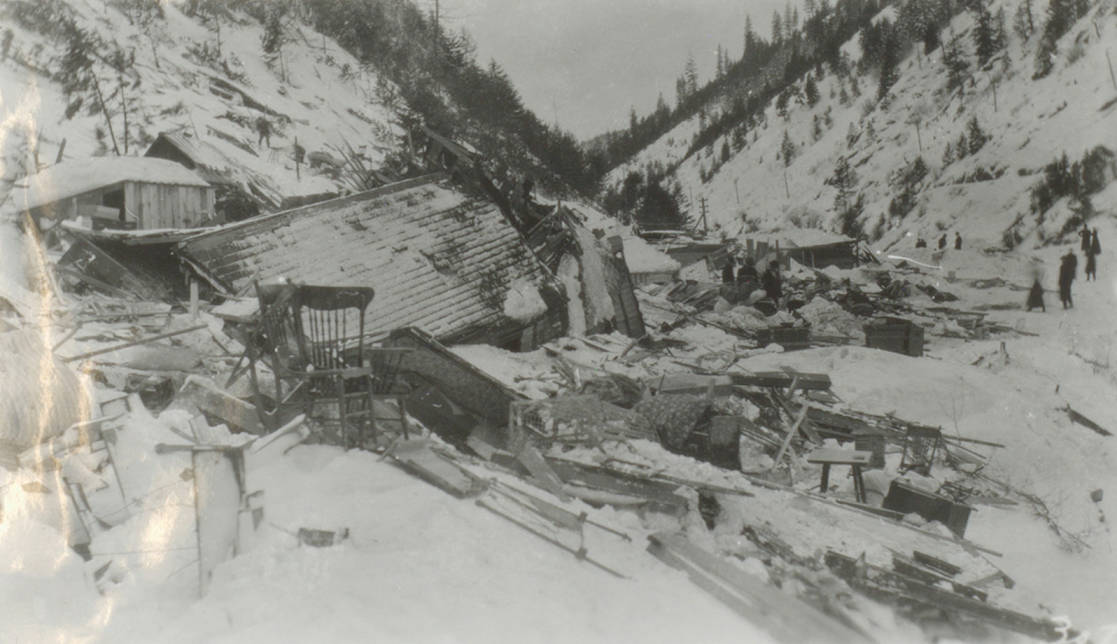 item thumbnail for Remains of houses after avalanche, Burke and Mace
