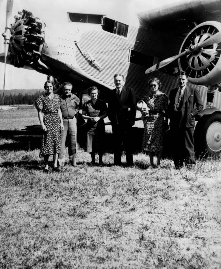 item thumbnail for Congressional party with plane at Chamberlin Ranger Station