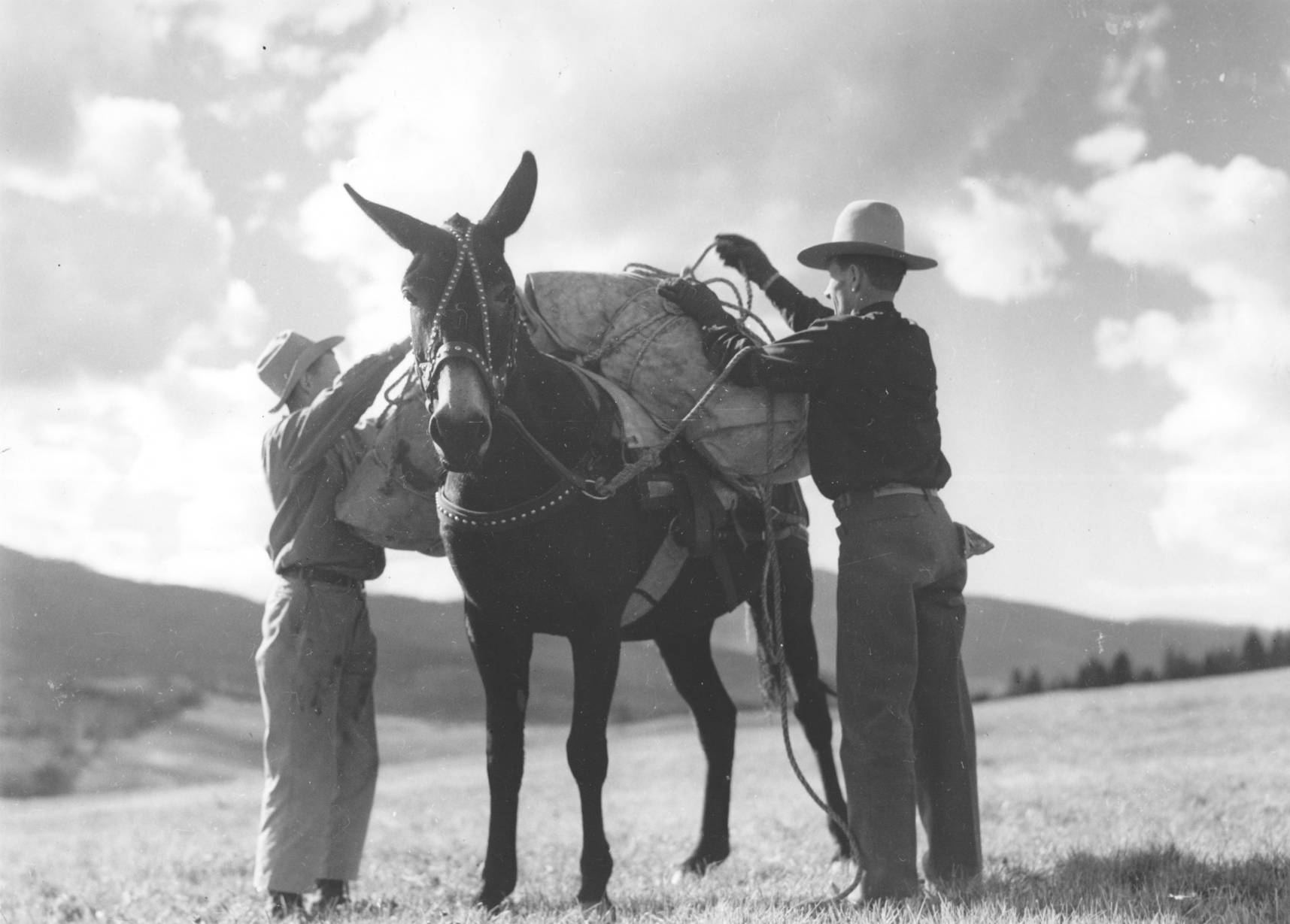 item thumbnail for Men load a pack mule
