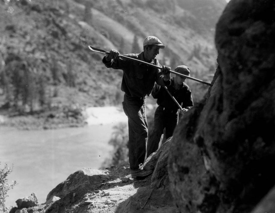 item thumbnail for CCC workers on road construction on Salmon River above French Creek