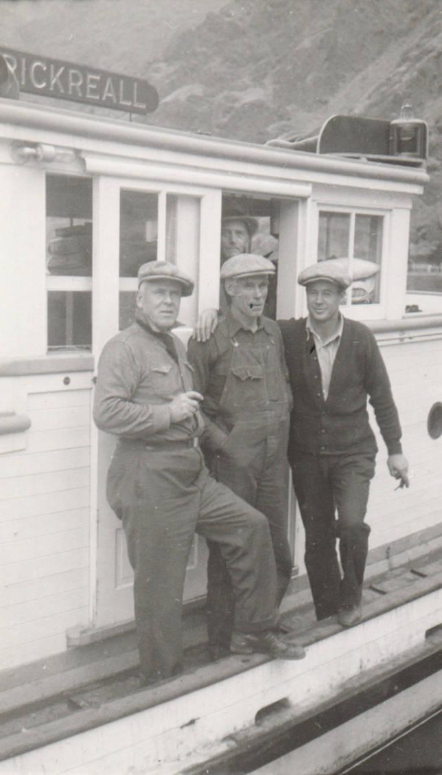 item thumbnail for Four men pose on boat (Rickreall) at Johnson Bar on Snake River