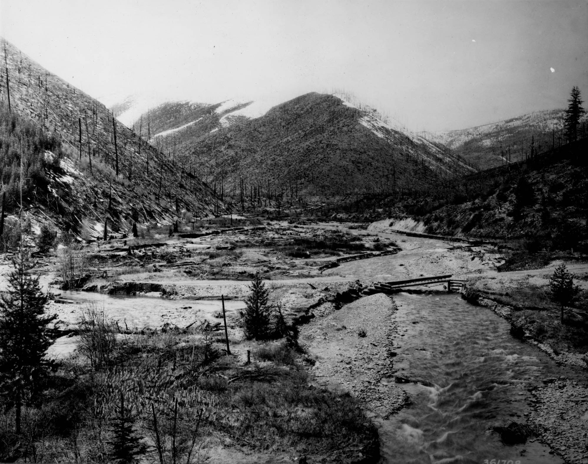 item thumbnail for Flood and watershed damage related to 1910 fire, Big Creek Valley