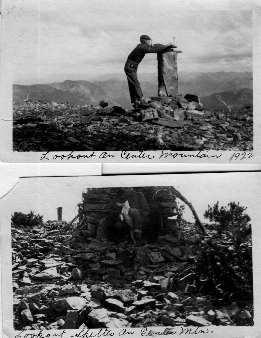 item thumbnail for Man uses fire finder at Center Mountain Lookout and man poses with dog