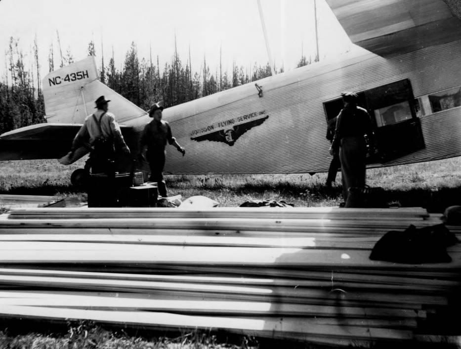 item thumbnail for Unloading supply plane at Chamberlain Ranger Station