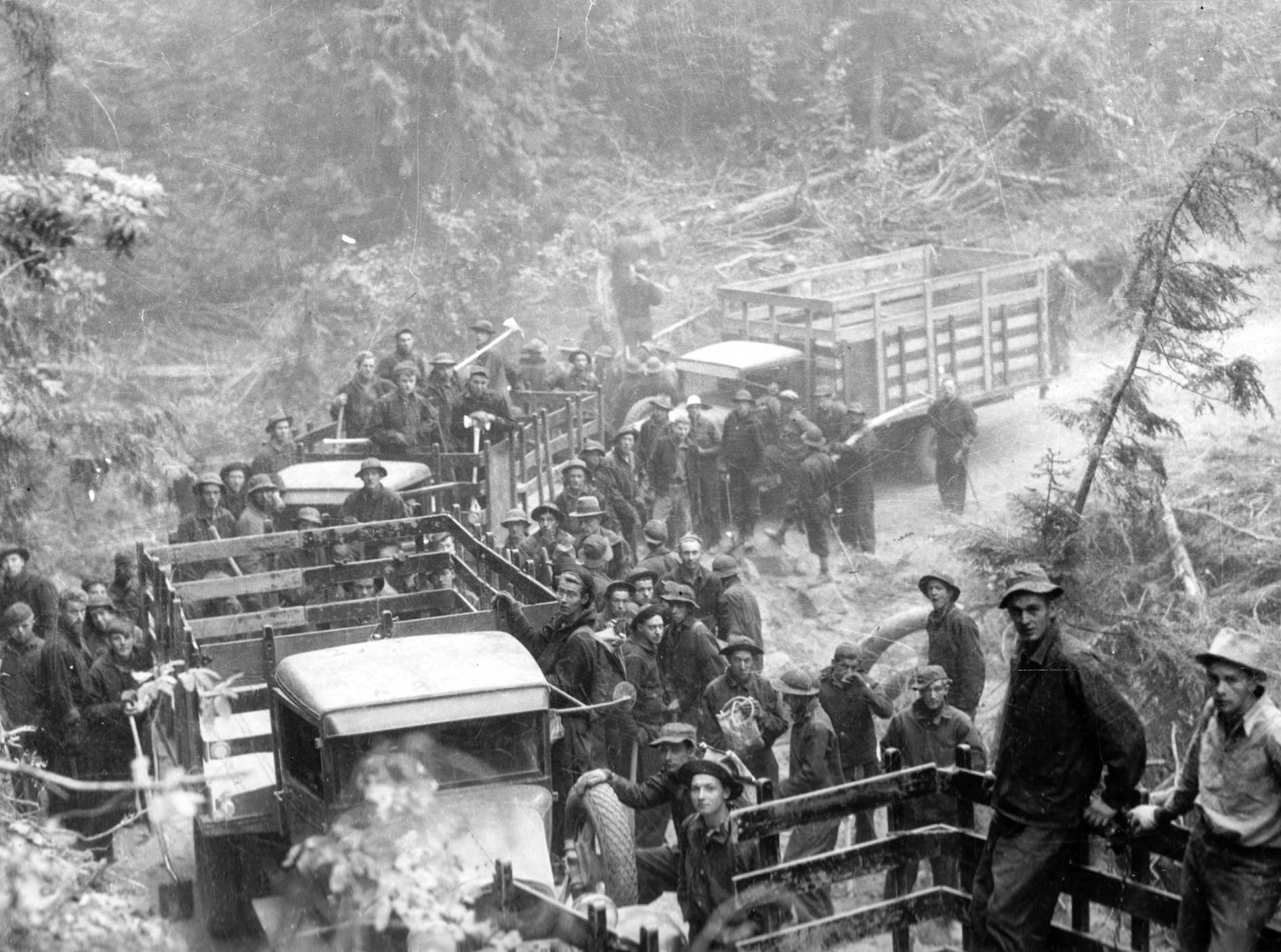 item thumbnail for CCC workers loading up to work on fire line