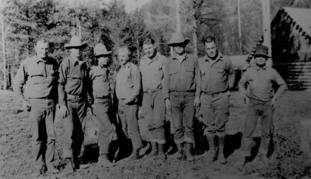 item thumbnail for Foresters pose for photo at Big Creek Ranger Station