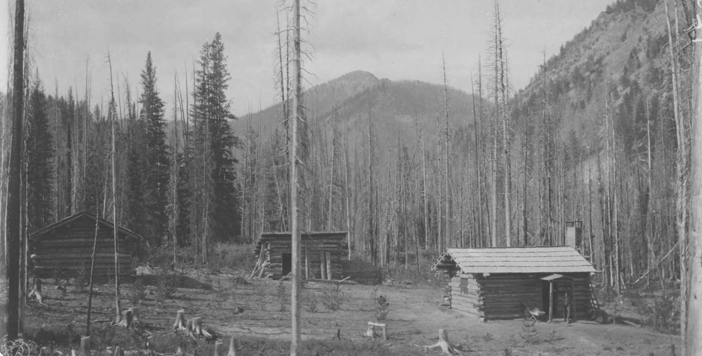 item thumbnail for Miners' cabins on Monumental Creek, Pyramid Peak in background