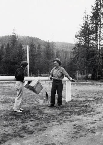 item thumbnail for Ack Ward and Kay Flores posed at hitching rail. Dixie, Idaho.