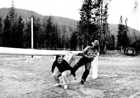 item thumbnail for Pick Ward and Kay Flores posed at hitching rail. Dixie, Idaho.