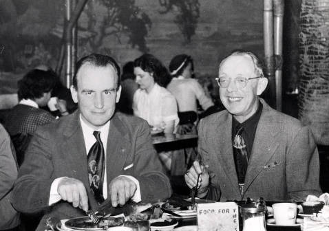 item thumbnail for Leslie R. Powelson and Hugh Eminger eating Christmas dinner together in Los Angeles.