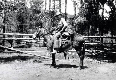 item thumbnail for Senator Caffel seated on a mule. Near Dixie, Idaho.