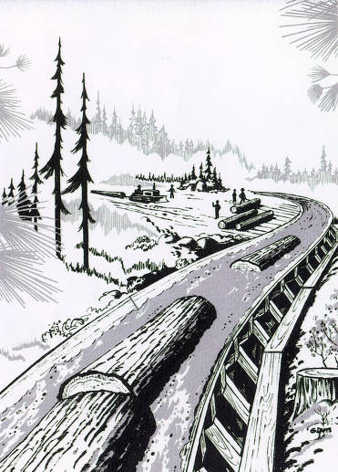 item thumbnail for Logs in flume. Drawing by G. Davis.