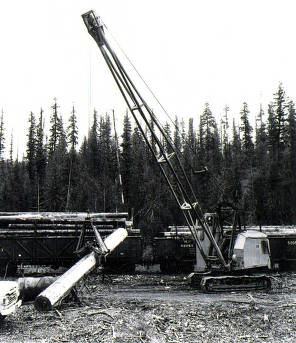 item thumbnail for Mobile crane loading logs on railcar. Camp 61.