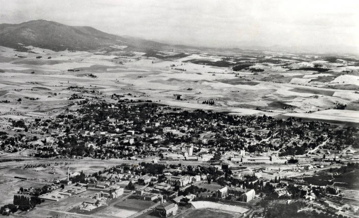 item thumbnail for Panoramic view of Moscow, Idaho. University of Idaho campus in foreground.