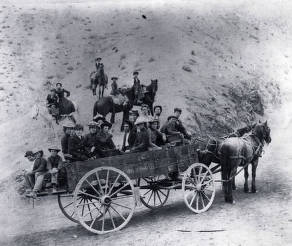 item thumbnail for Wagon load of people and several on horses. Challis, Idaho area.