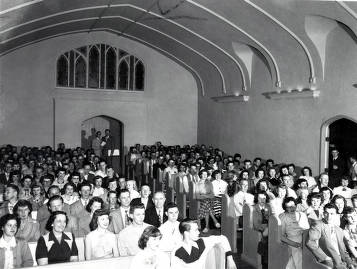 item thumbnail for LDS Institute. Corner of Deakin and University Avenue. Interior view of congregation. Moscow, Idaho.