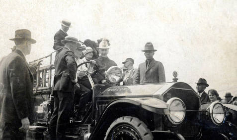 item thumbnail for New fire truck. Mrs. Lucy Mix Day at wheel. Moscow, Idaho.