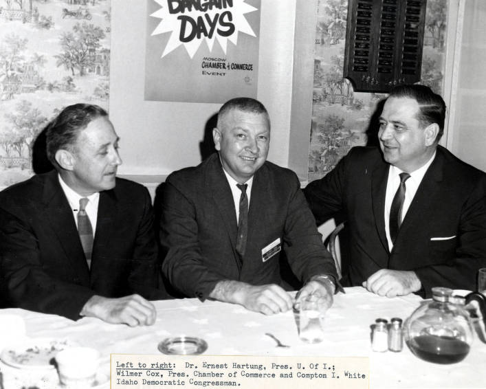 item thumbnail for Chamber of Commerce. L to r: Dr. Ernest W. Hartung, Wilmer Cox, Compton I. White. Moscow, Idaho.