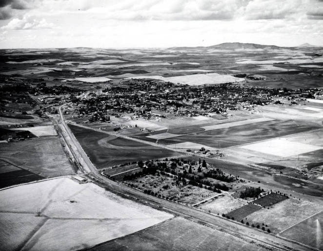 item thumbnail for Aerial view of Moscow, Idaho. Looking northwest with cemetery in foreground.