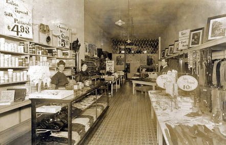 item thumbnail for Andrews Store. Interior view showing Mildred Dodge and Mr. & Mrs. Andrews. Moscow, Idaho.