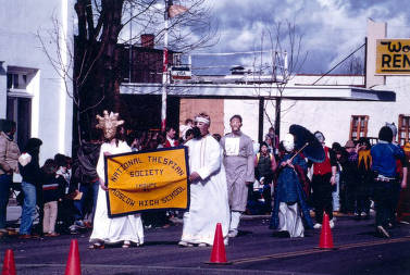 item thumbnail for National Thespian Society troupe of Moscow High School. Mardi Gras parade. Moscow, Idaho.