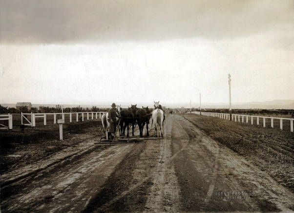 item thumbnail for East portion of Burrell Avenue. Grading road with team of 4 horses. Lewiston Orchards, Idaho.