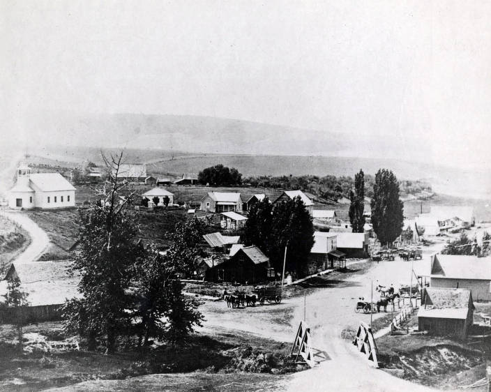 item thumbnail for Panoramic view of Viola, Idaho looking south..