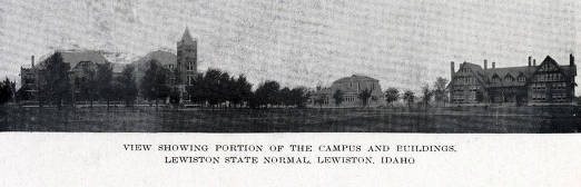 item thumbnail for Copy print from book showing portion of Lewiston State Normal School campus and buildings. Lewiston, Idaho.