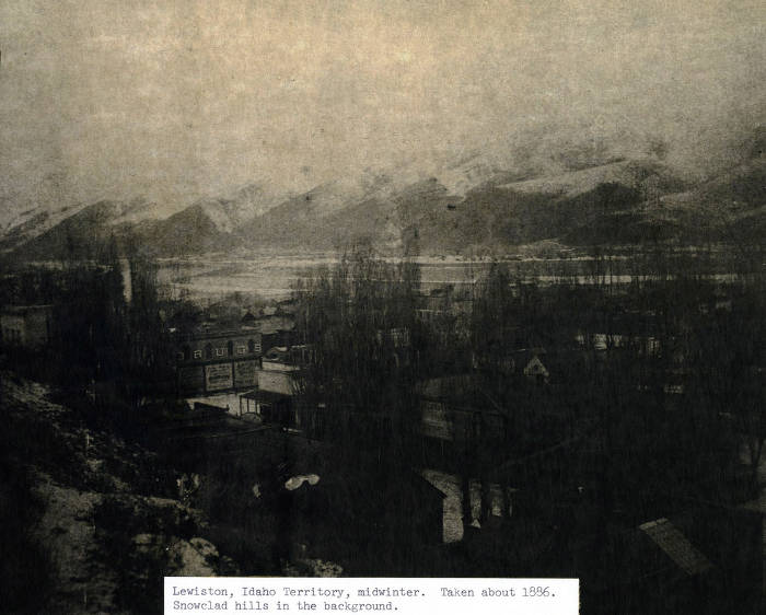 item thumbnail for View of downtown area in mid-winter. Lewiston, Idaho Territory.