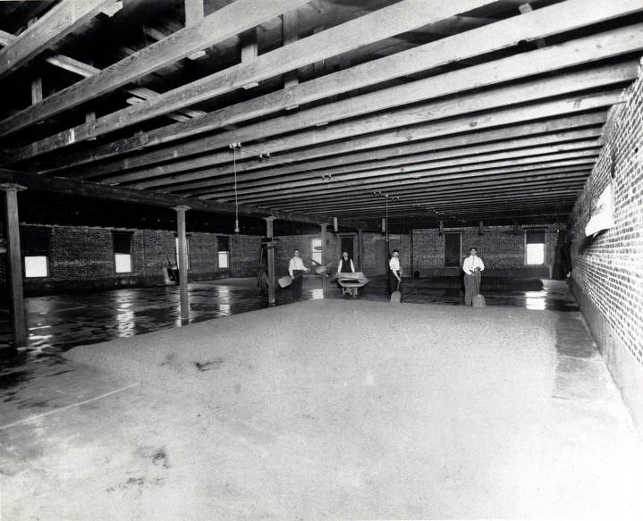item thumbnail for Barley being spread to dry on floor of large room. C. Weisgerber Brewery. Lewiston, Idaho.