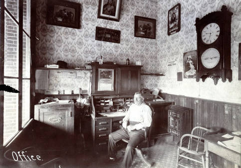 item thumbnail for Christ Weisgerber sitting in his office. C. Weisgerber Brewery. Lewiston, Idaho.