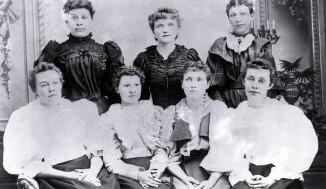 item thumbnail for Back row, L-R: Bell McTerfen, Miss White, Josie O'Grady. Front row: Clara Johnson, Addie Cook, Clara Rowe, Edna Johnson.