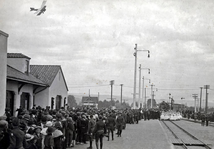 item thumbnail for President Gray's special train arrives at new station. Celebration of coming of Union Pacific main line to Boise. Boise, Idaho.