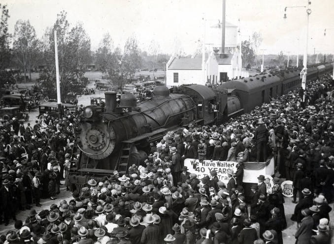 item thumbnail for Transcontinental limited from the west arriving at station. Celebration of coming of Union Pacific main line to Boise. Boise, Idaho.