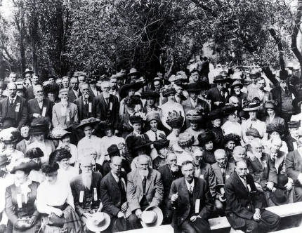 item thumbnail for Large group of men and women on an outing. Hall's Grove? Grangeville?, Idaho.