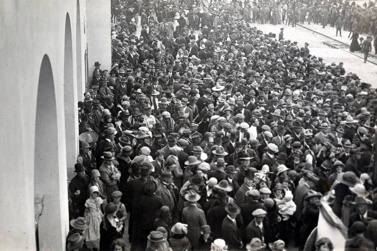 item thumbnail for Crowd in front of new station. Celebration of coming of Union Pacific main line to Boise. Boise, Idaho.