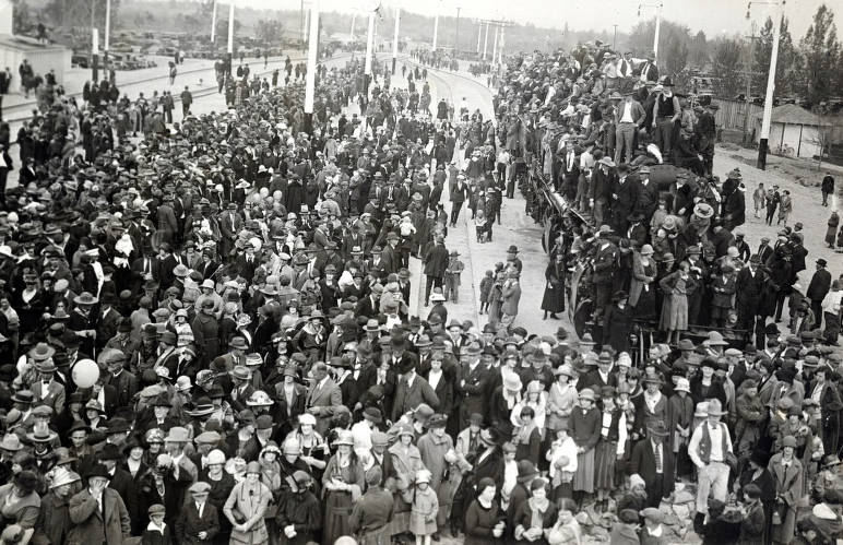 item thumbnail for Crowd greeting train. Celebration of coming of Union Pacific main line to Boise. Boise, Idaho.