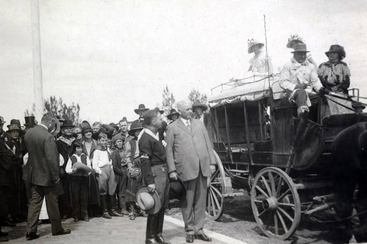 item thumbnail for U.P. President Carl R. Gray preparing to ride in old stagecoach. Celebration of coming of Union Pacific main line to Boise. Boise, Idaho.