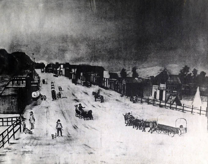 item thumbnail for Picture made from painting of business section. Boise City, Idaho Territory.
