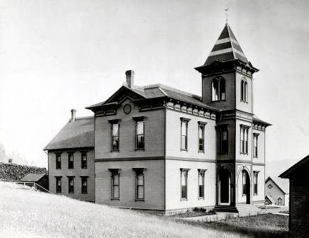 item thumbnail for Exterior view of Russell School (1884-1912) after the annex was built in 1888. Moscow, Idaho..