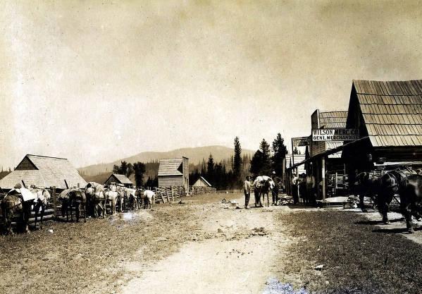 item thumbnail for Street scene. Wilson Mercantile Co. and Clarkia Mercantile. Clarkia, Idaho.