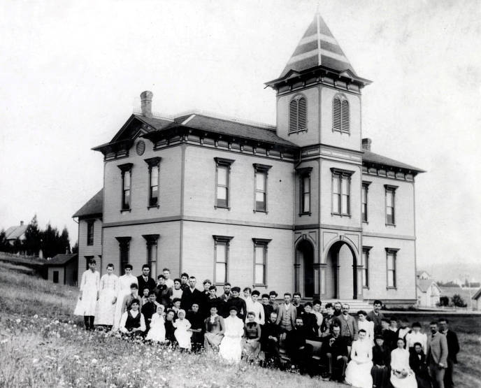 item thumbnail for Teachers attending Latah County Teachers' Institute outside of Russell School (1884-1912). Moscow, Idaho.