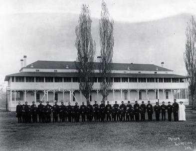 item thumbnail for Group in front of building. Fort Lapwai Indian Sanitarium. Idaho.