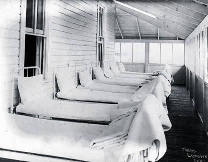 item thumbnail for Beds on the sleeping porch. Fort Lapwai Indian Sanitarium. Idaho.