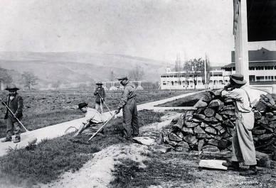 item thumbnail for Boys working in yard. Fort Lapwai Indian Sanitarium. Idaho.