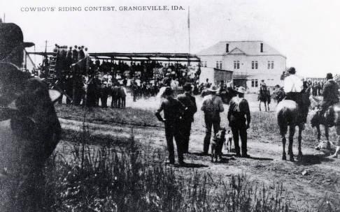 item thumbnail for Cowboys' riding contest. Border Days?. Grangeville, Idaho.