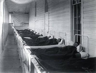 item thumbnail for Patients on the sleeping porch. Fort Lapwai Indian Sanitarium. Idaho.