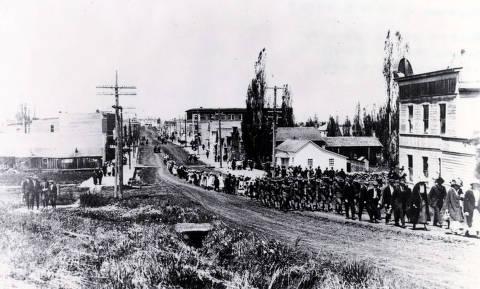 item thumbnail for World War I Veterans marching down street. Grangeville, Idaho.