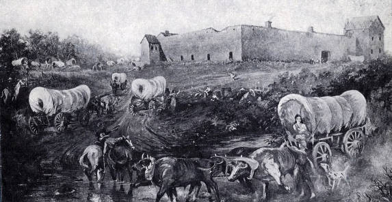 item thumbnail for Reproduction of a painting of Fort Hall, Idaho.