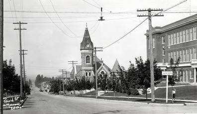 item thumbnail for Methodist Church, 3rd and Adams Street, and Moscow High School. Moscow, Idaho.